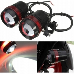 2 X HALOGEN MOTO LED 2X CREE+WŁĄCZNIK z RINGIEM red/black